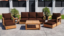 7 pc Chatsworth Sofa Teak Deep Seating with Coffee Table. Sunbrella Cushion