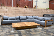 "9pc pc Hermosa Teak Sectional with 72"" Coffee Table. Sunbrella Cushion"
