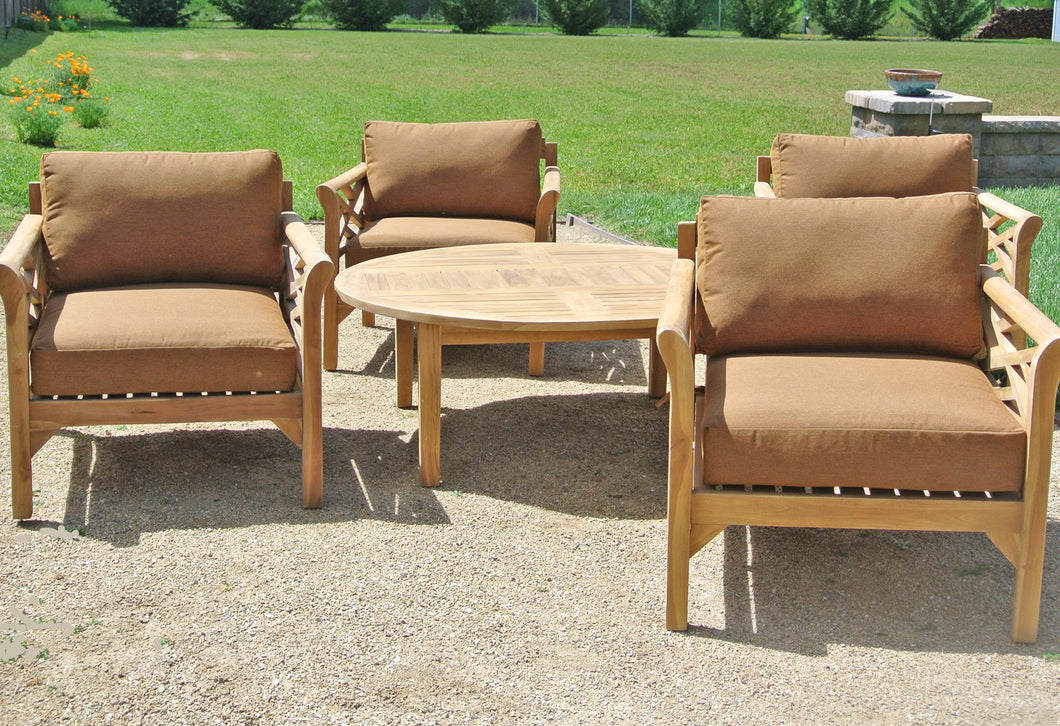 5 pc Monterey Teak Deep Seating Set with 52