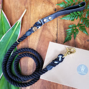 Wag Swag Brand Black Rope and Leather Dog leash black