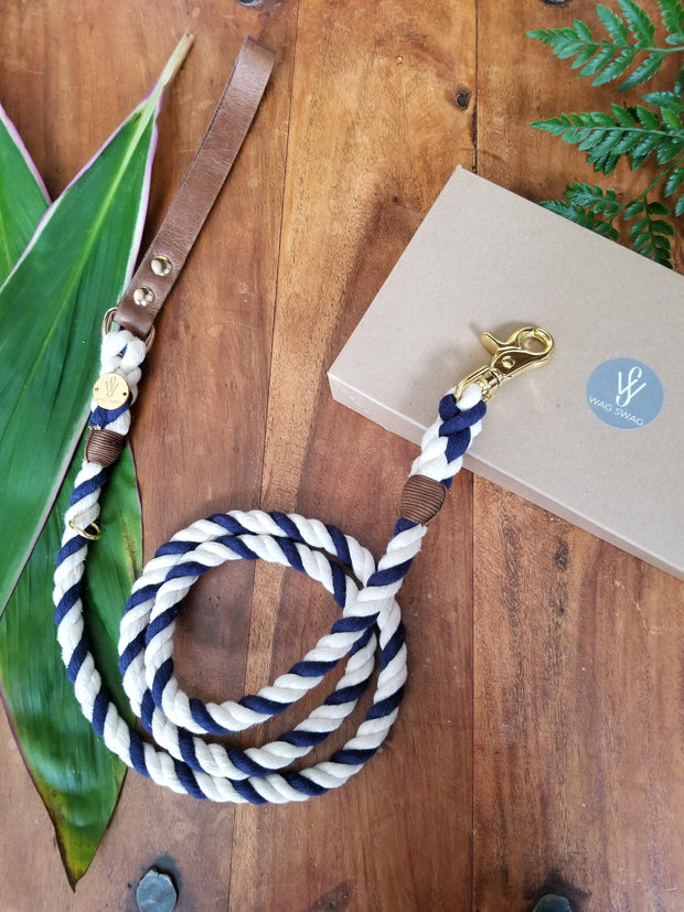 Nautical | Leather and Rope Leash
