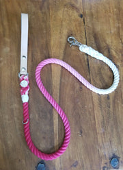 Pink ombre | Leather and Rope Leash