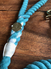 Teal | Cotton Rope Leash - Wag Swag Brand Inc