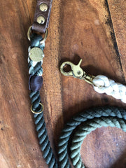 Hunter Green | Leather and Rope Leash - Wag Swag Brand Inc