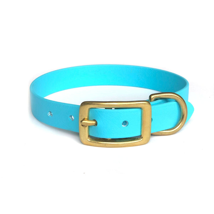 Wag Swag Brand Vegan Leather Collar Waterproof Baby Blue Brass hardware