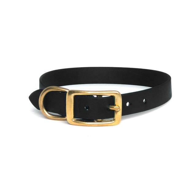Wag Swag Brand Vegan Leather Collar Waterproof  Brass hardware Black
