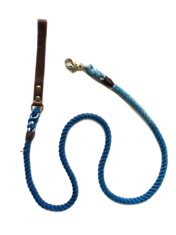 Blue Aqua Ombre | Leather and Rope Leash