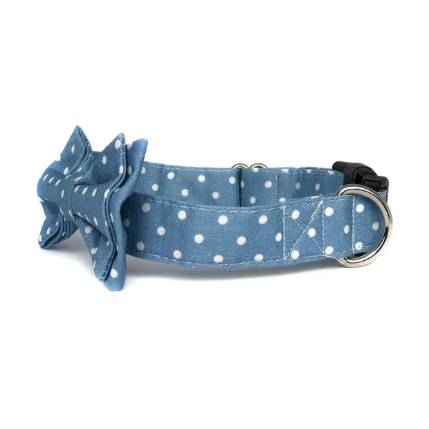 Bow Tie Collar|  Polka Dot Baby Blue - Wag Swag Brand Inc