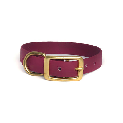 Wag Swag Brand Vegan Leather Collar Waterproof  Brass hardware Burgundy maroon