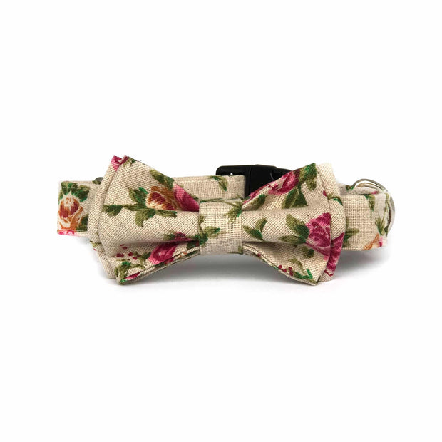 Wag Swag Brand | Bow Tie Dog Collar | Fields of Roses