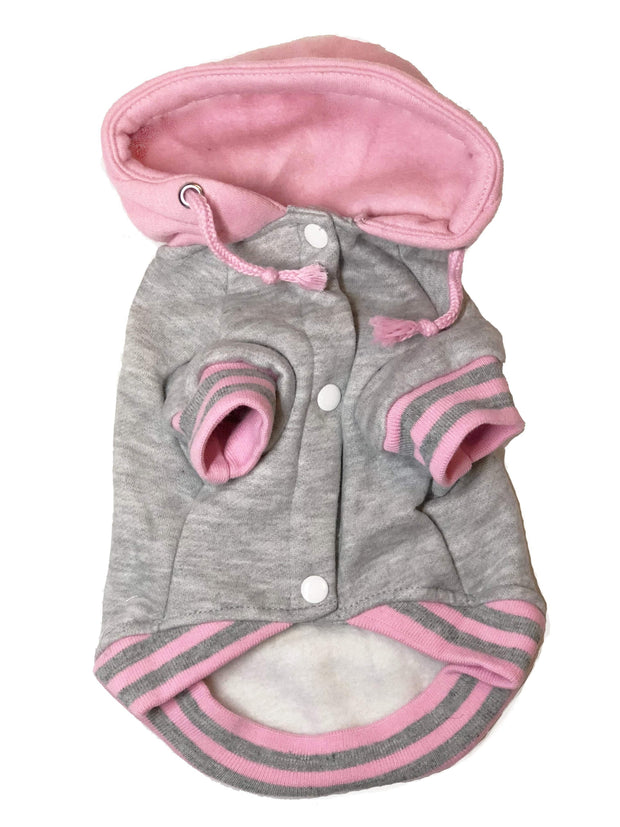 Grey and Pink Hoodie Sweater