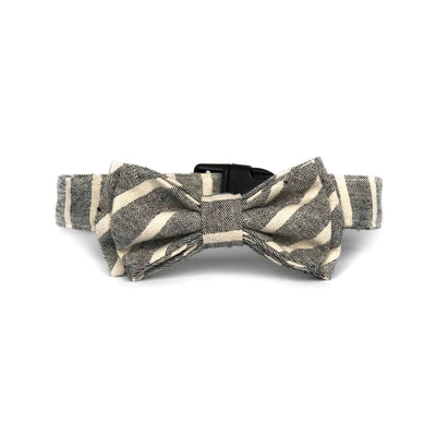 Wag Swag Brand | Bow Tie Dog Collar | Grey Stripes