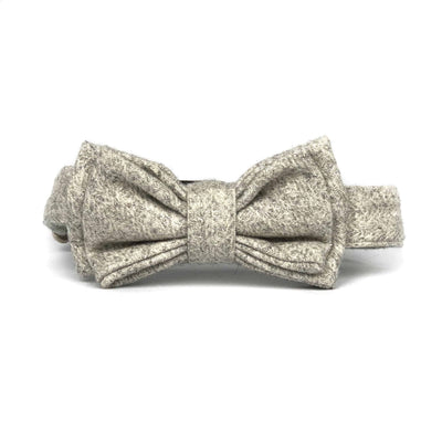 Wag Swag Brand | Bow Tie Dog Collar | Grey Wool