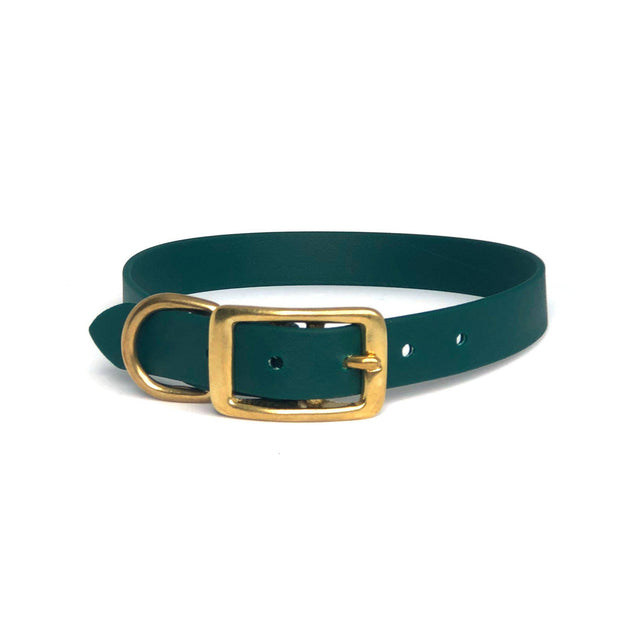 Wag Swag Brand | Vegan Leather Dog Collar | Waterproof | Brass Hardware | Hunter Green | Made in Canada Toronto