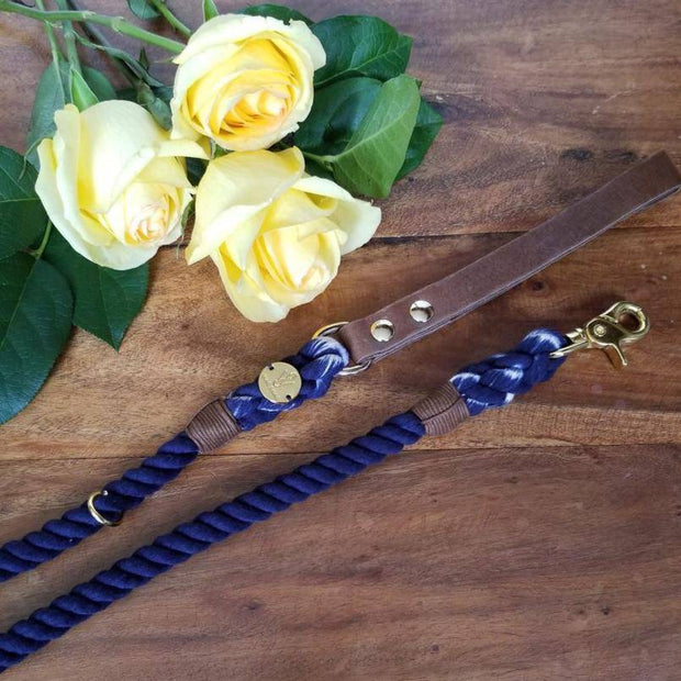 Navy Blue | Leather and Rope Leash - Wag Swag Brand Inc