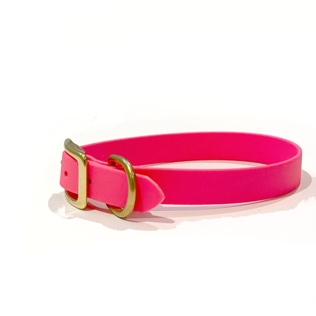 Vegan Leather Collar | Neon Pink