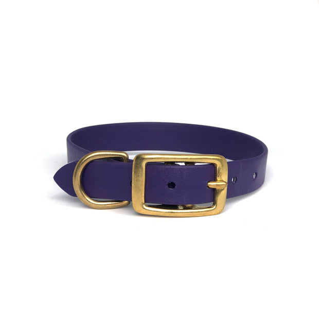 Wag Swag Brand | Vegan Leather Dog Collar | Waterproof | Brass Hardware | purple | Made in Canada Toronto