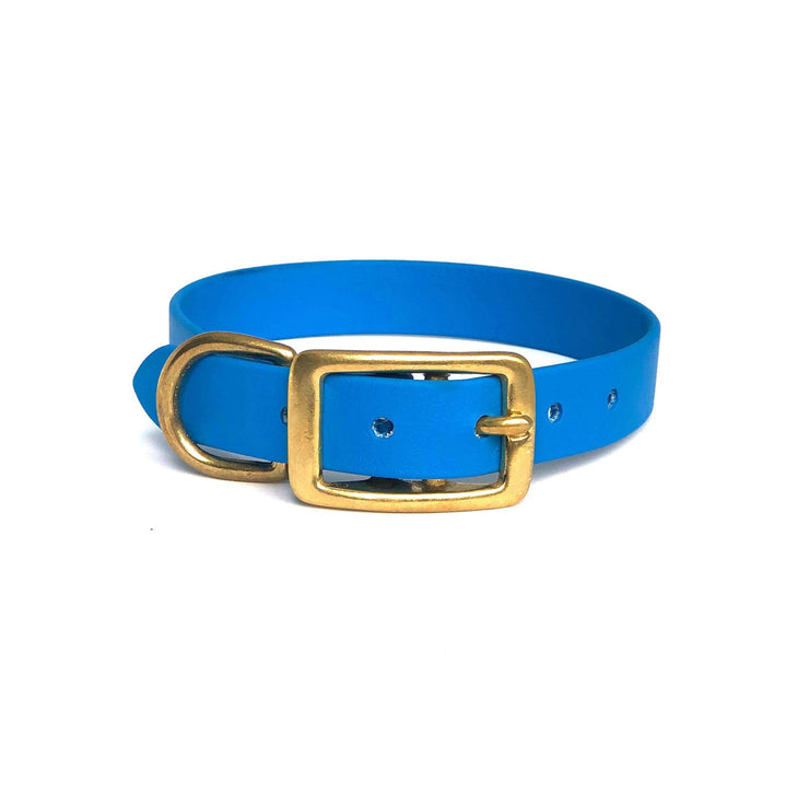 Wag Swag Brand | Vegan Leather Dog Collar | Waterproof | Brass Hardware | sky blue | Made in Canada Toronto