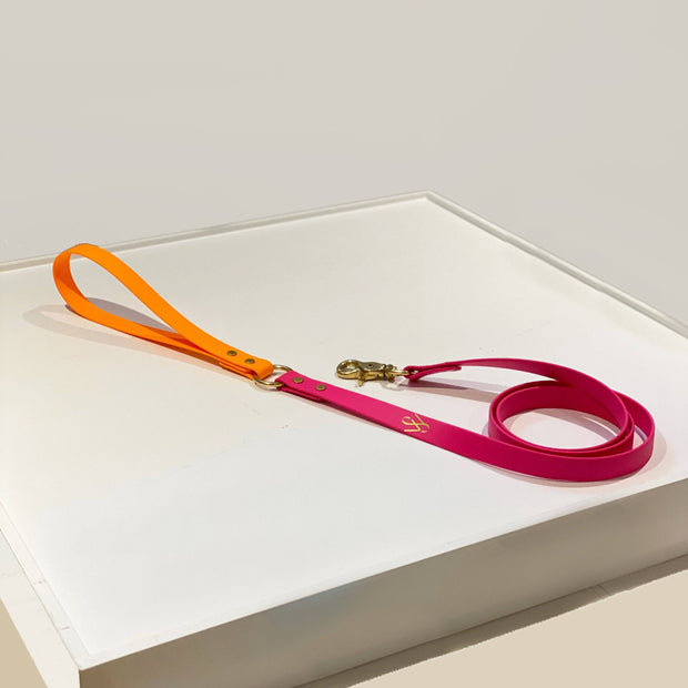 Two Tone Vegan Leather Leash | Fuchsia Pink and Mango Orange