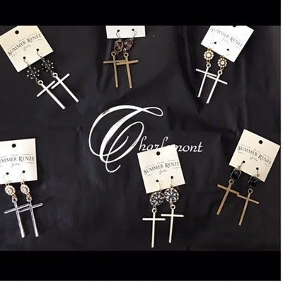 SR Rhinestone Cross Earrings