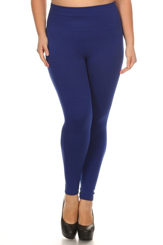 Plus Size High Waist Fleece Leggings