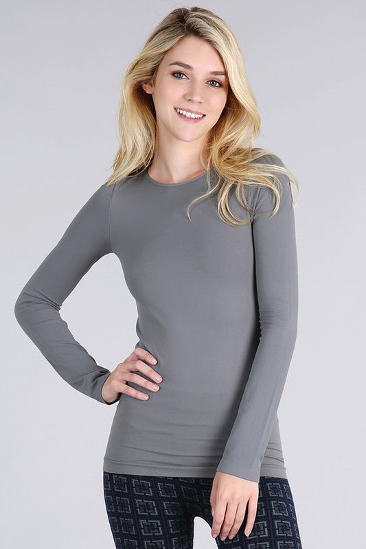 Long Sleeve Scoop Neck Seamless Wear