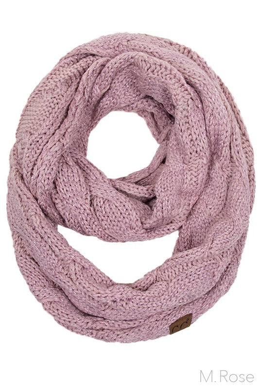CC Knitted Metallic Infinity Scarf