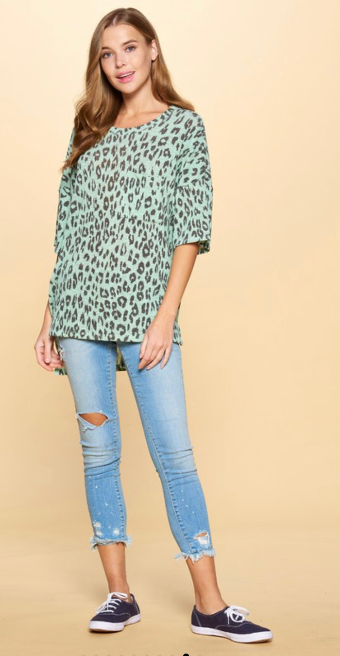 Tea Green Leopard Top Curvy Sale