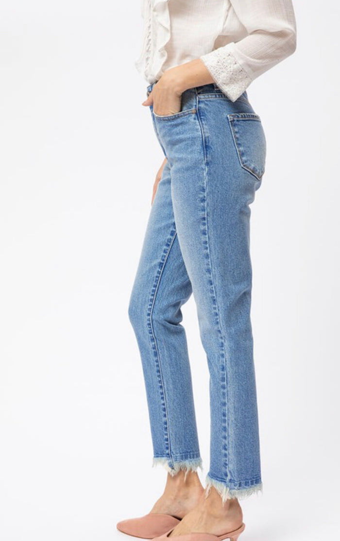 KanCan High Rise Straight Leg Frayed Jeans