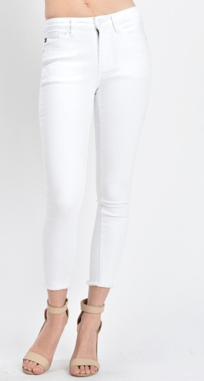 White Frayed Ankle Skinny KanCans