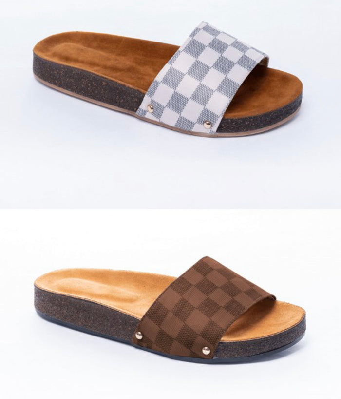 Checkered Cork Slip-on Sandals
