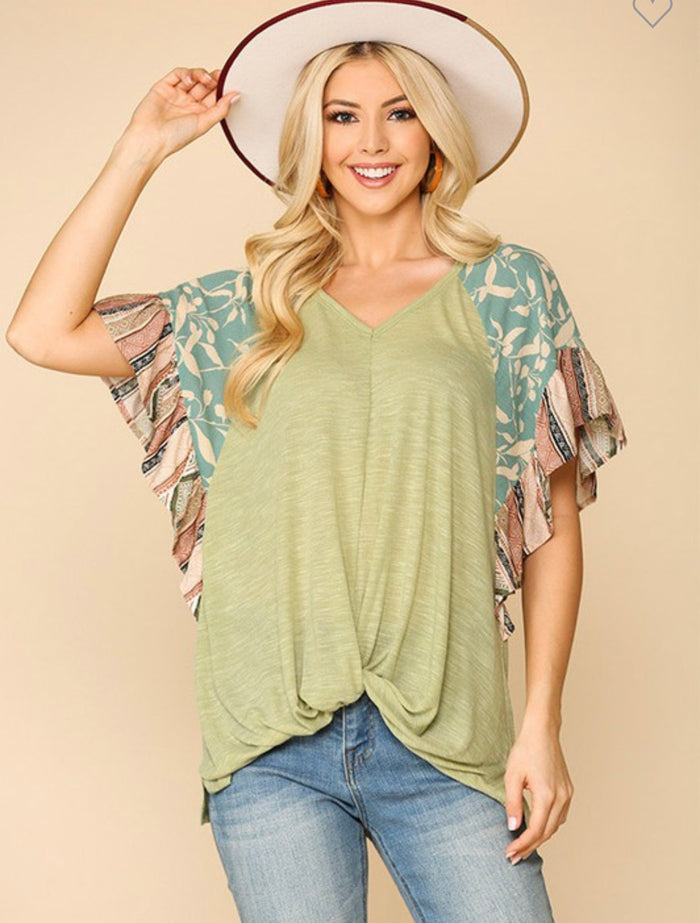Floral Sleeve Twist Front Tunic