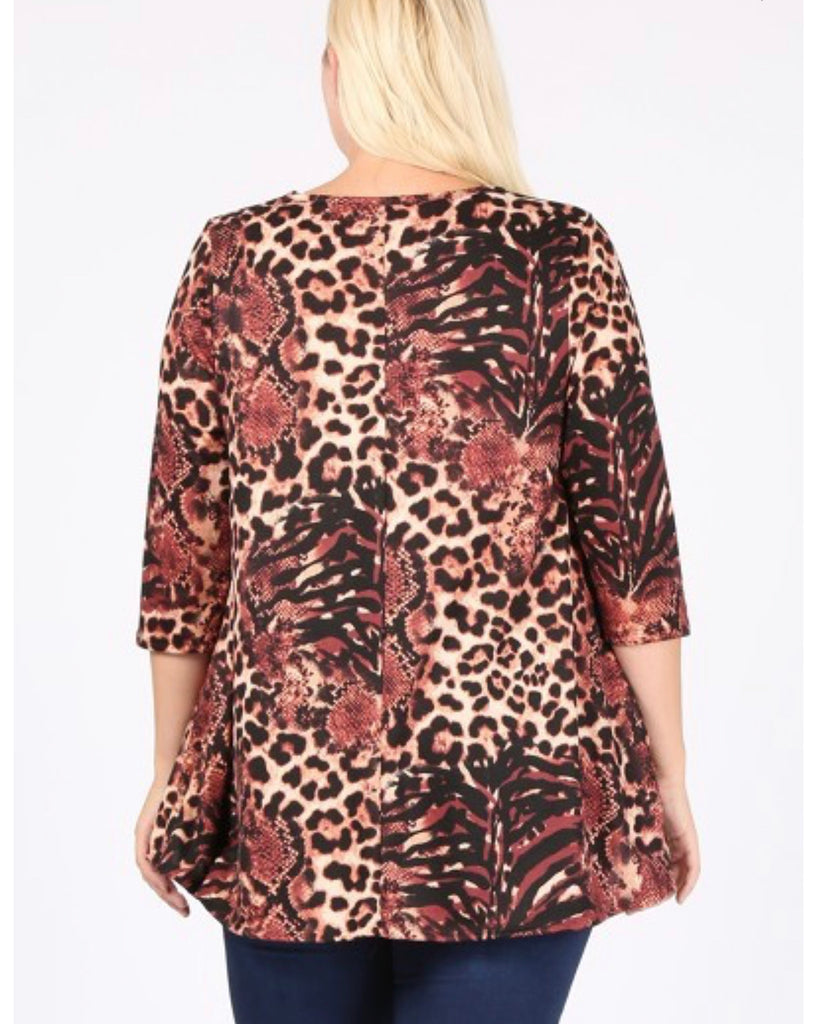 Very Leopard 3/4 Sleeve Tunic Curvy
