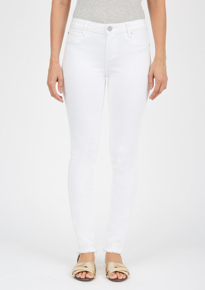 AOS Sarah Cut Off Hem White Jeans