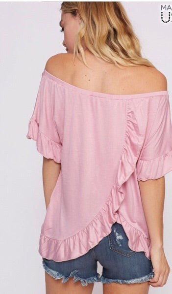 Off Shoulder Ruffle Back Top