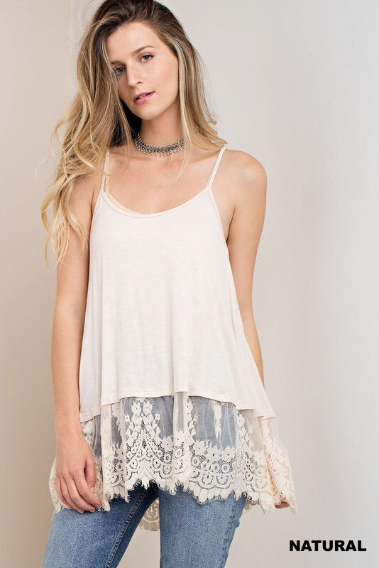 Lace Trim Swing Cut Camisole