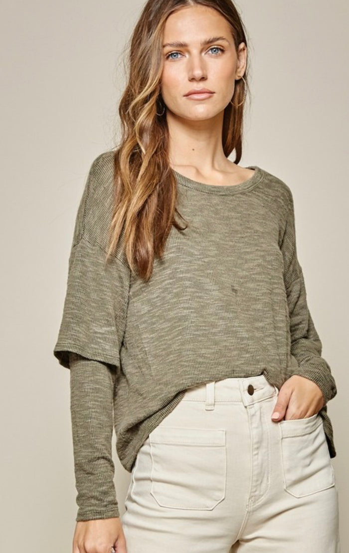 Layered Sleeve Knit Top