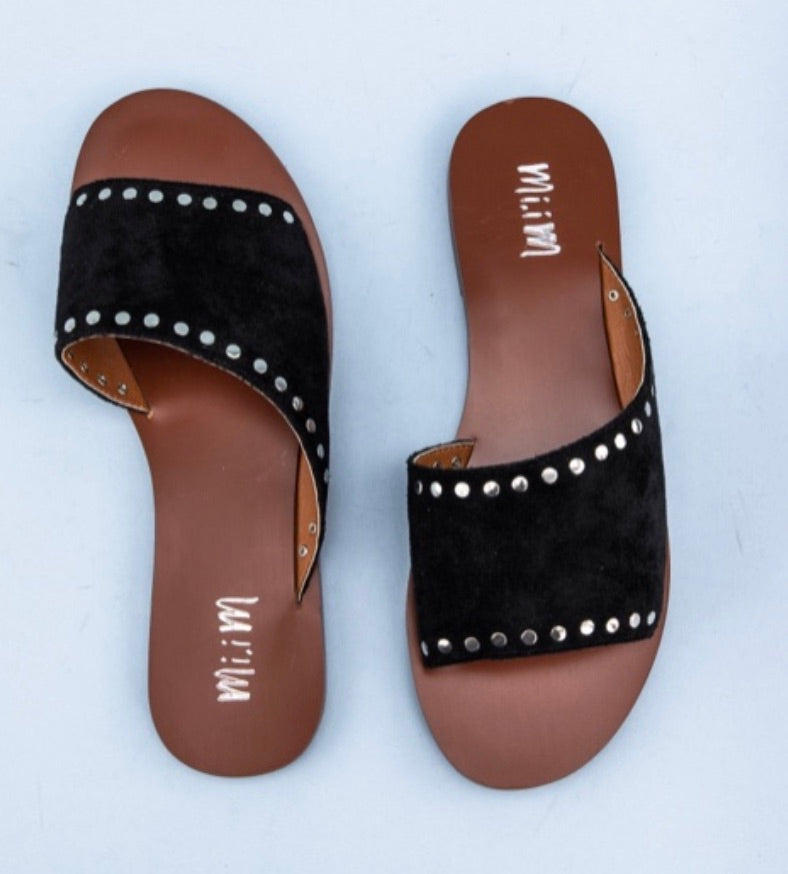 Studded Suede Slides