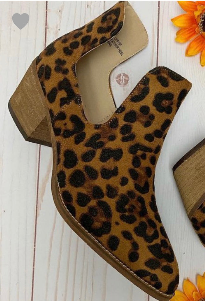 Leopard Cutout Ankle Boot