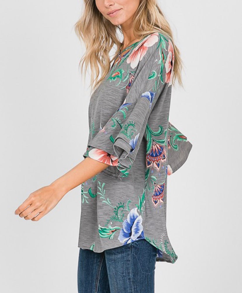 Curvy Floral Bell Sleeve Tunic