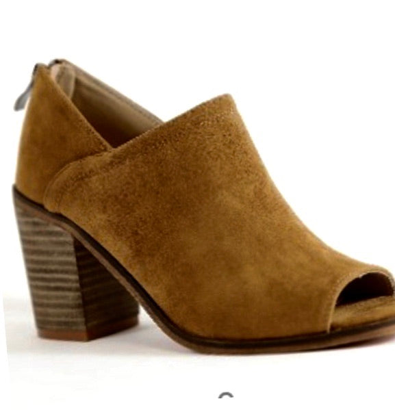 Chestnut Suede Open Toe Bootie