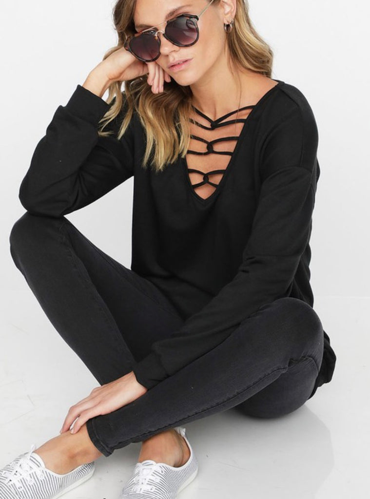 Cage Front French Terry Top