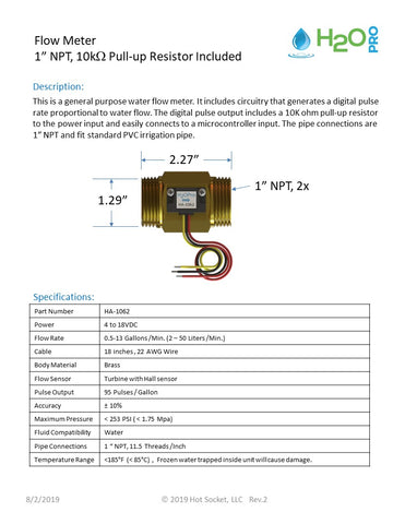 1 inch NPT Flow Meter data sheet
