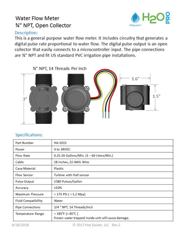 H2OPro Flow Meter with Open Collector data sheet