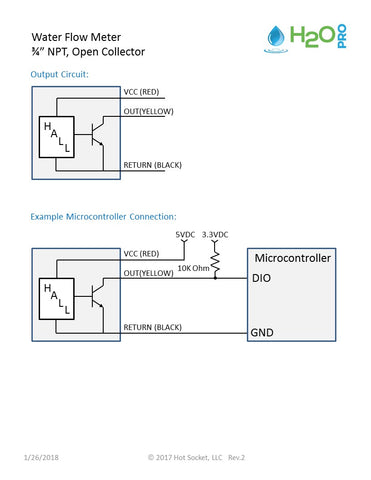 Circuit Diagram for Flow Meter with Open Collector
