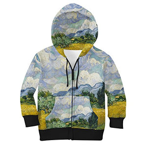 Vincent Van Gogh Fine Art Painting Kids Zip Up Hoodie Unisex