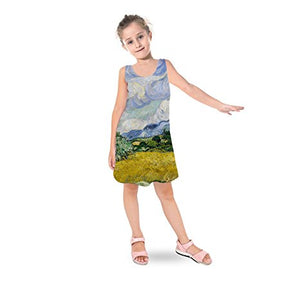 Vincent Van Gogh Fine Art Painting Kids Sleeveless Dress Flared Girls