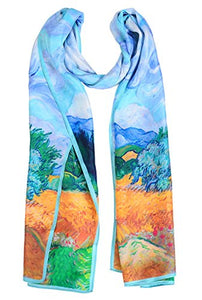 Salutto Women 100% Silk Scarves Van Gogh Paul Gauguin Monet Painted Scarf