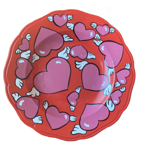 Ceramic Hand Painted Winged Heart Plate