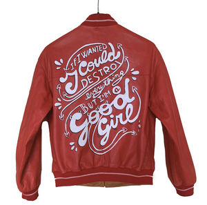 "Vintage Red Leather Jacket ""Good Girls"""
